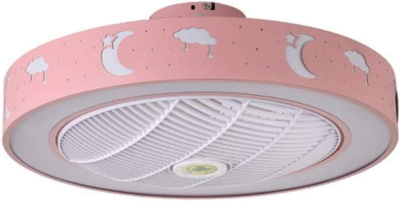 PPAMZ Ventilador de Techo con Mando a Distancia y Luz, 3 Palas, 59cm de Diámetro, Potencia de 80W y 3 Velocidades, Cuarto de Los Niños Jardín de Infantes, Rosa