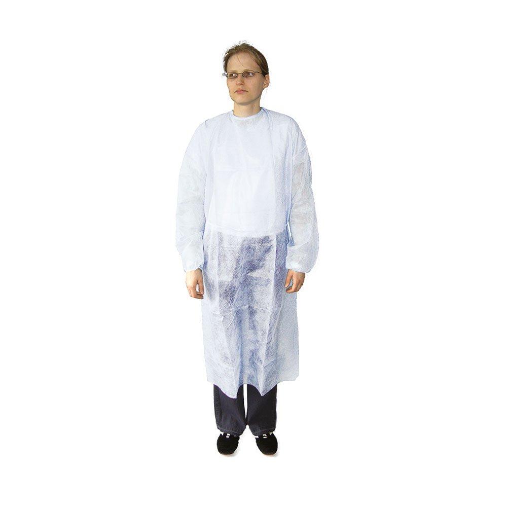 10x Ratiomed camice visitatori camice, camice, cura, camice monouso, lacci, XL Bianco Megro