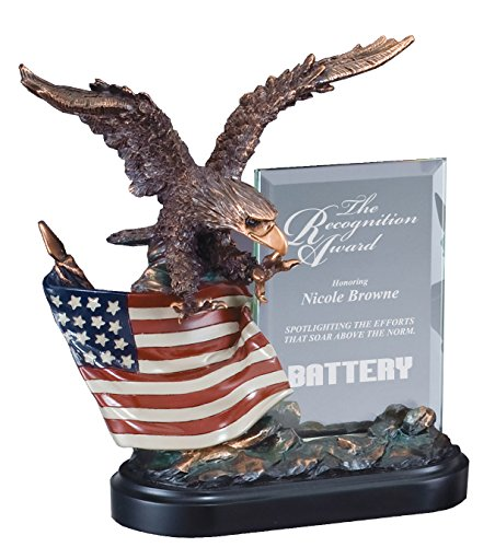 Etch Workz Customize Resin Casting Award - American Eagle RFB805 Series Electroplated Eagle Sculpture Resin Trophy With Glass - Gold Plated - Engraved & Personalized Free