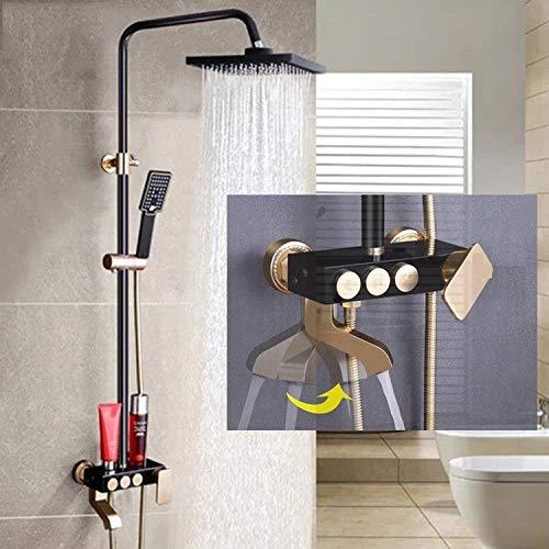 - KaO0YaN-Shower Shower European Black Shower Third Gear Shower Large Shower Set Space Aluminum Thermostat Handheld Bath Shower Faucet