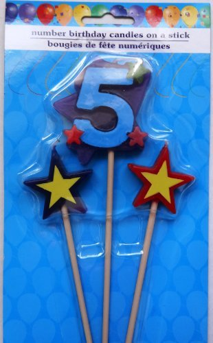 Greenbrier Number Birthday Cake Candles / Toppers / Decorations / Kit / 3 Piece Set / # 5