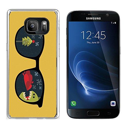MSD Samsung Galaxy S7 Clear case Soft TPU Rubber Silicone Bumper Snap Cases IMAGE ID: 13057898 Retro sunglasses with cute dragon reflection in - Sunglasses Dragon Warranty