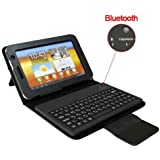 DragonPad Bluetooth Keyboard with Folding Leather Cover Case and Stand for Samsung Galaxy Tab 10.1-inch P7500 / P7510 (Black)