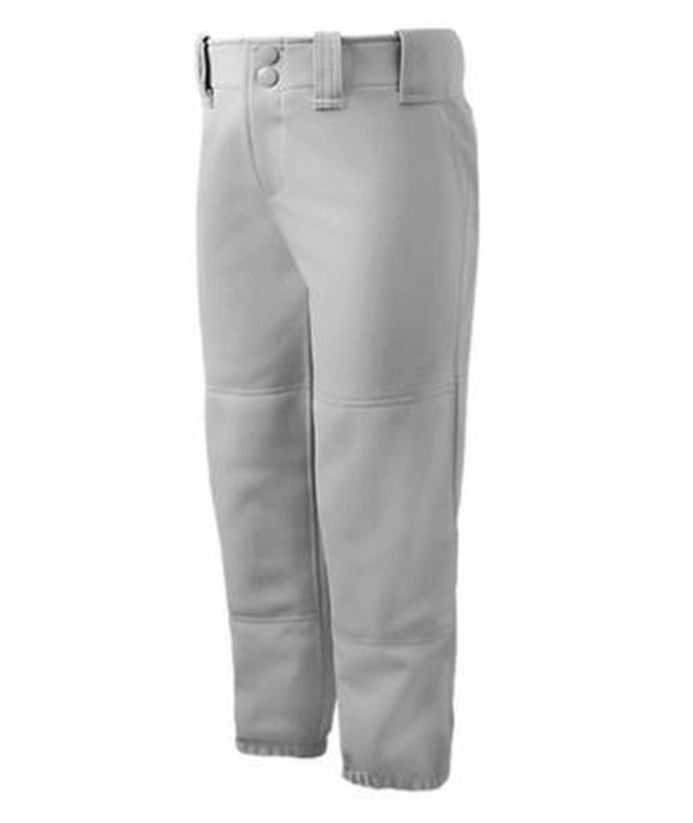 Mizuno Girls Youth Belted Low Rise Fastpitch Softball Pant, Grey, Youth Medium by Mizuno