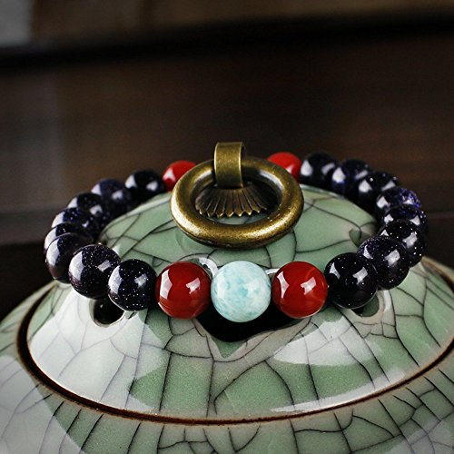 [Winter's Secret Relax Blue Sandstone Tibet Silver Lock Pendant Bling Bangle Bracelet] (Faux Chain Hooded Costumes)