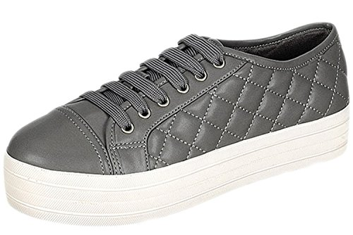 (Breckelle's Women Leatherette Quilted Cap Toe Flatform Sneaker DI87 - Grey (Size: 10))