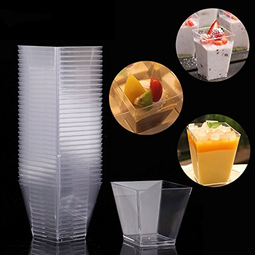 40pcs Mini Clear Square Trapezoid Dessert Cups Mousse Jelly Pudding Tiramisu Cupcake Desserts Container Tableware Party Supplies by Xiaolanwelc