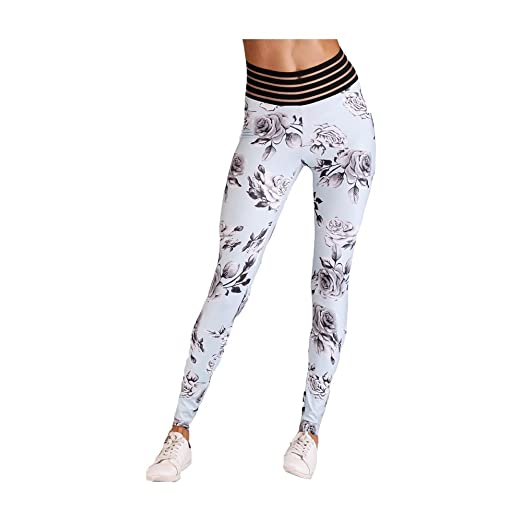 13ad2d4176cdf Smilady Women's Yoga Capris Blue Flower Printing Height Waist Flex High Rise  Running Sports Athletic Gym