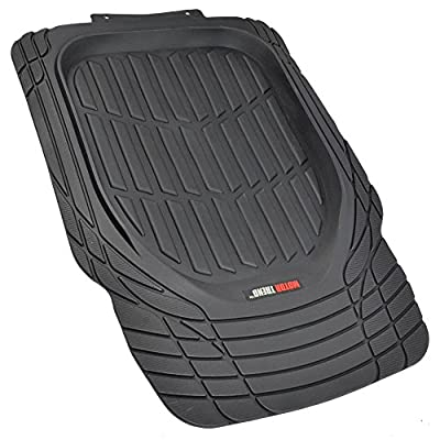 Motor Trend FlexTough Tortoise - Heavy Duty Rubber Floor Mats for Car SUV Van & Truck - All Weather Protection - Deep Dish (Black)
