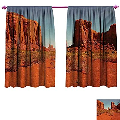 cobeDecor Desert Customized Curtains Sunny Hot Day Monument Valley Arid Country Primitive Nation Arizona USA Patterned Drape for Glass Door Dark Orange Pale Blue