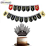 E&L 2 in 1 Game of Thrones Dragon, Lion, Unicorn Viewing Party Pennant Banner Plus Game of Thrones Happy Birthday Cake Topper, Game Party Happy Birthday Banner Supplies, Game Party Favors