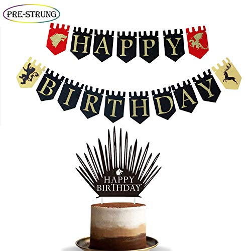 E&L 2 in 1 Game of Thrones Dragon, Lion, Unicorn Viewing Party Pennant Banner Plus Game of Thrones Happy Birthday Cake Topper, Game Party Happy Birthday Banner Supplies, Game Party Favors -