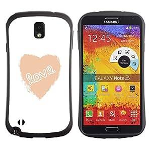 """Hypernova Slim Fit Dual Barniz Protector Caso Case Funda Para Samsung Note 3 [Amor corazón blanco de texto minimalistas de San Valentín""""]"""