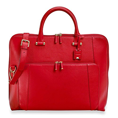 Levenger Blair Expandable Leather Laptop Briefbag - Red by Levenger