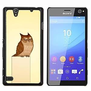 YiPhone /// Prima de resorte delgada de la cubierta del caso de Shell Armor - Enojado divertido Evil Búho - Sony Xperia C4