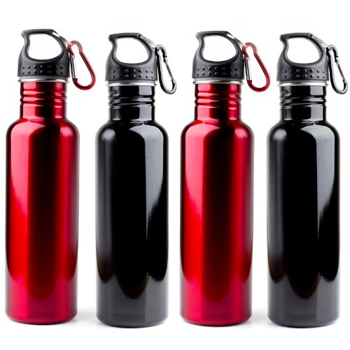 Stainless Steel Reusable Sports Water Bottles -- 4-Pack Combo Set 2 Black & 2 Red