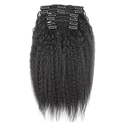 10-22inch Kinky Straight Clip In Human Hair Extensions 7A Italian Coarse Yaki Human Hair Brazilian Virgin Hair Clip In Extension 7pcs 120gram