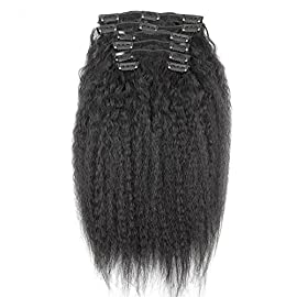 10inch Kinky Straight Clip In Human Hair Extensions 7A Italian Coarse Yaki Human Hair Brazilian Virgin Hair Clip In Extension 7pcs 120gram