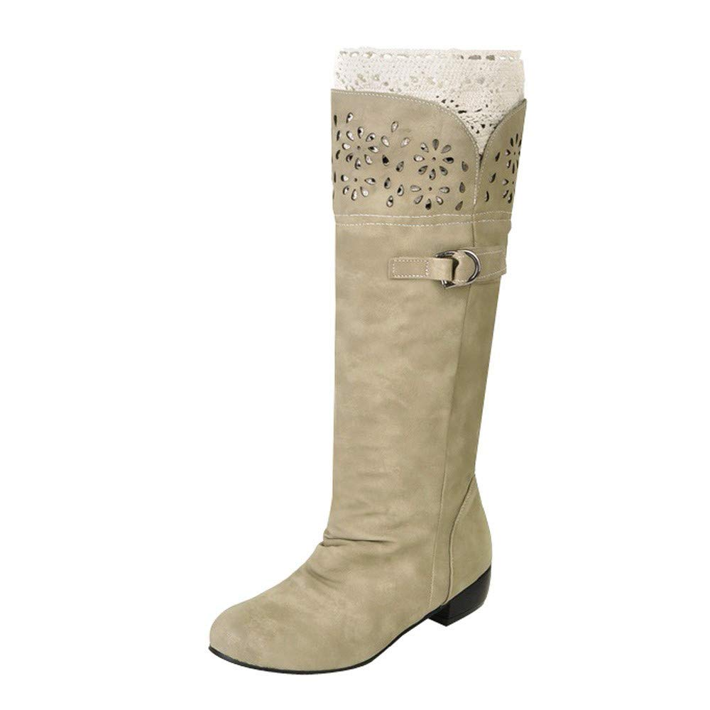 Wadonerful Womens Knee High Boots Round Toe Low Heel Hollow Out Flat Single Shoes Buckle High Tube Boots Knight Boots Beige by Wadonerful-Boots