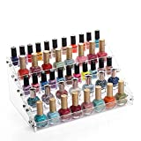 Sooyee Acrylic 5 Layer Nail Polish Rack Tabletop Display Stand on the Table or Desk Holds Up 40-60 Bottles,Clear 5 Tier Essential Oils Holder 12.2x7.9x5.7 Inches,Pack of 1