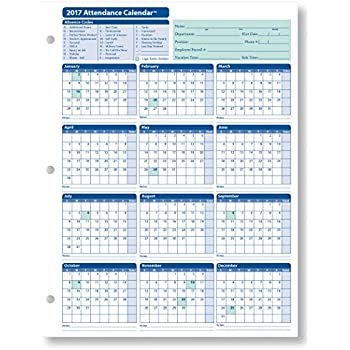 Amazon.com : 2017 Attendance Calendar - 50 Sheets/Package - On ...