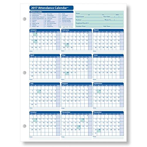 25 Pack Calendar (ComplyRight Attendance Calendar Card, White, Pack of 25)