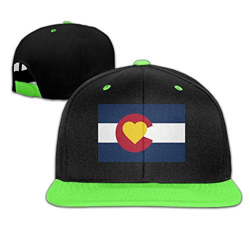 Colorado State Flag Adjustable Running KellyGreen Hip Hop Baseball Hat For Children