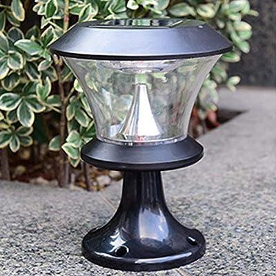 Missbee Solar Power Outdoor LED Security Lantern Light, Garden Solar Lights Outdoor, 8 LED Round Solar Pillar Lamp, LED Decorative Waterproof Garden Wall Door Post Lamp Outdoor Landscape Light