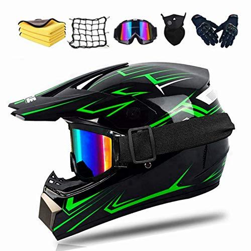 Integral-Motocrosshelm, mit DOT-Zertifizierung, Offroad-Helm, Downhill-Helm für Erwachsene und Kinder, mit Brille…