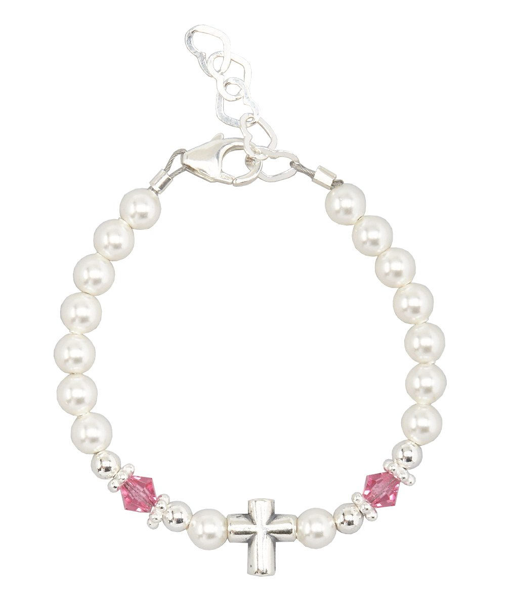 Baptism Sterling Silver Cross Bead with Swarovski White Simulated Pearls Pink Crystals Baby Bracelet (BSCHP) Crystal Dream AZBSCHP_SMALL