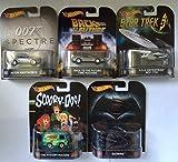 Hot Wheels set of 5 Retro Vehicles. Batwing, Aston Martin DB10, Mystery Machine, Back to the Future Time Machine, USS Enterprise NCC-1701