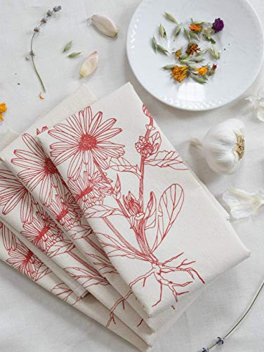 - Cloth Dinner Napkins - Set of 4 - Fiesta Red - Flower Design - Calendula Blossom - Handmade - Hand-printed - Unpaper Towels - Cotton Napkins - Reusable - Washable