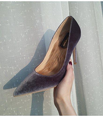 Xue Qiqi Court Schuhe Spitzhoher Absatz Weiblichen Samt Fein mit Einzelnen Schuhe Weibliche Rote Brautschuhe Hochzeit Schuhe Weiblich 33 Ruß Samt 10cm