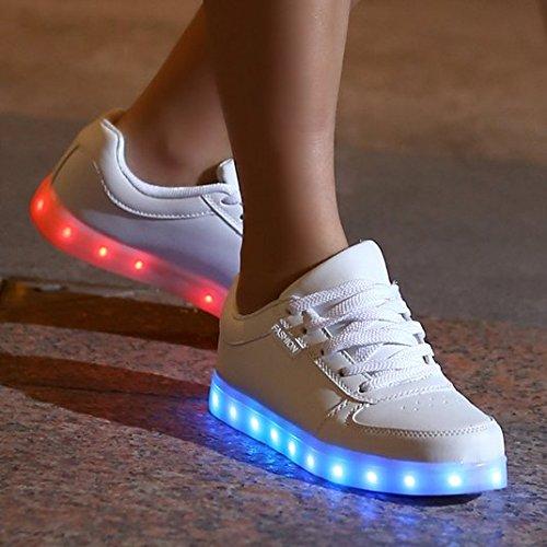 DoGeek Zapatos Led Niños Niñas 7 Color USB Carga Deportivas De Luces Zapatillas Led (Elegir 1 tamaño más grande) Blanco