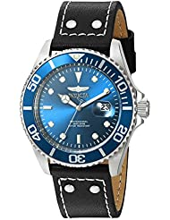 Invicta Mens Pro Diver Quartz Stainless Steel and Leather Watch, Color:Black (Model: 22068)
