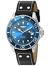 Invicta Men's 'Pro Diver' Quartz Stainless Steel and Leather Automatic Watch, Black (Model: 22068)