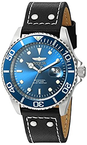 Invicta Men's 'Pro Diver' Quartz Stainless Steel and Leather Watch, Color:Black (Model: 22068) (Invicta Watch Black Leather)