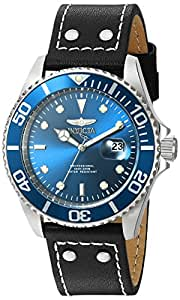 Invicta Men's 'Pro Diver' Quartz Stainless Steel and Leather Watch, Color:Black (Model: 22068)