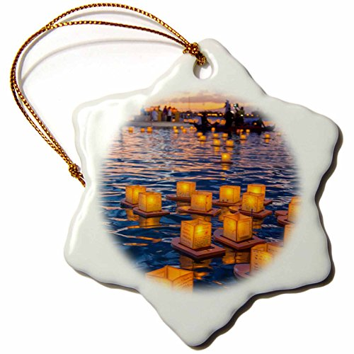 3dRose Lantern Floating Festival, Honolulu, Hawaii, USA US12 DPB2761 Douglas Peebles Snowflake Ornament, 3'' by 3dRose