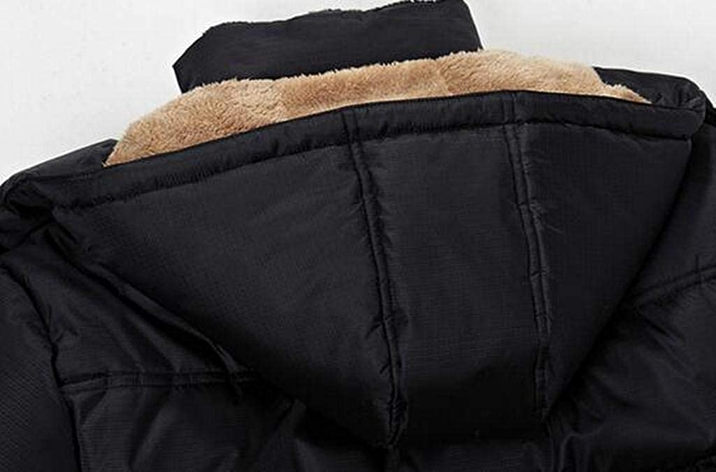 MMCP Men Winter Thicker Warm Faux Fur Lined Hoodie Down Quilted Jacket Coat Outwear