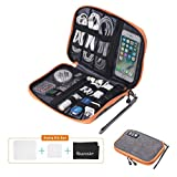 Travel Cable Organizer Bag Waterproof Portable Electronic Organizer for USB Cable Cord Phone Charger Headset Wire SD Card Orange/Gray