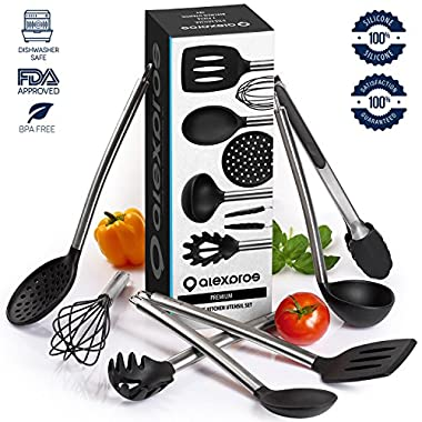 Cooking Utensils - 7 Piece Stainless Steel and Silicone Cooking Utensil Set - Nonstick Kitchen Utensils. Enjoy Today the Safeness for Your Pans and Pots & Comfort for Yourself