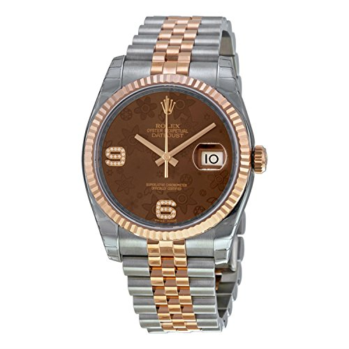 Rolex Datejust 36 Automatic Brown Floral Dial Steel and 18kt Pink Gold Ladies Watch 116231BRFDAJ