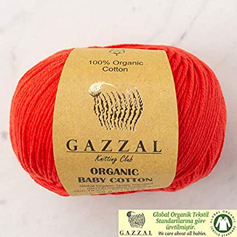 5 ovillos (paquete) Gazzal orgánico bebé algodón hilo, total 8.8 ...