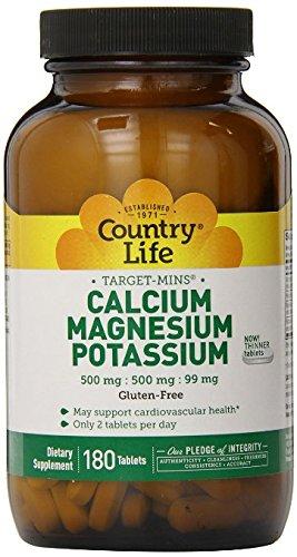 Country Life Target Mins - Calcium Magnesium Potassium, 500mg/500mg/99mg - 180 Tablet