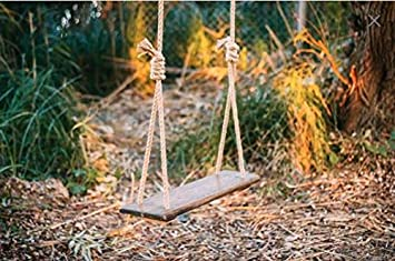 AD Planet Wooden Outdoor Hanging Swing Set with Melamine Coating for Home and Garden, 24x10 Inches