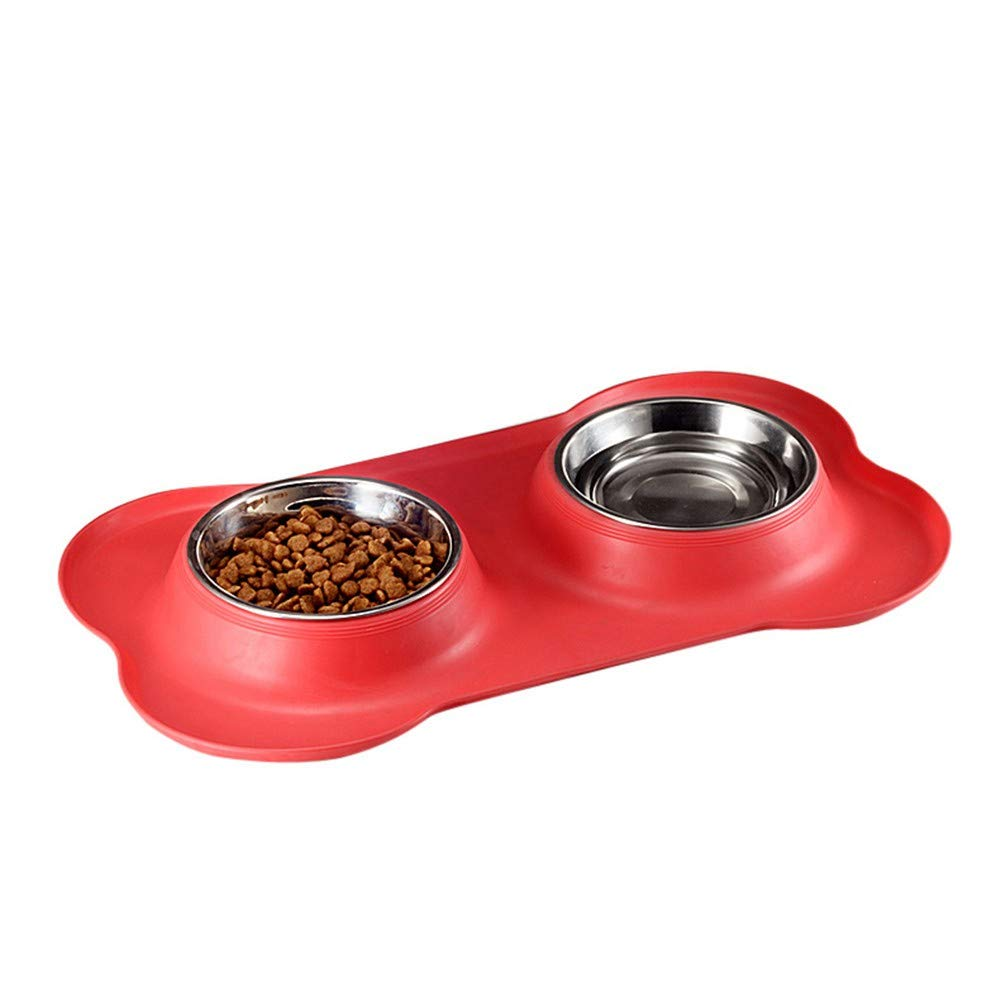 PeachBlossomSource New Bone Type Pet Silica Gel Bowl Stainless Steel Pet Double Bowl Dog Bowl The Dog Bowl Pet Food Bowl Tableware,Red,M