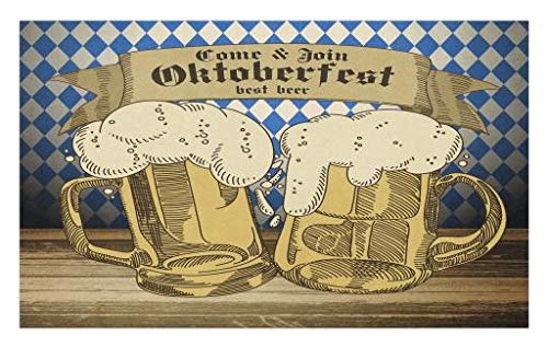 Lunarable Oktoberfest Doormat, Cold Foamy Beer Mugs Cheers Party Theme Tourist Attraction Travel Destination, Decorative Polyester Floor Mat with Non-Skid Backing, 30 W X 18 L Inches, Blue -