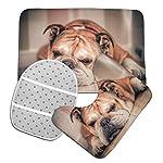 DING English Bulldog Dog Soft Comfort Flannel Bathroom Mats Non-Slip Absorbent Toilet Seat Cover Bath Mat Lid Cover,3pcs/Set Rugs 9