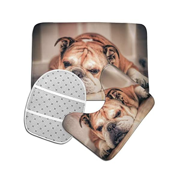 DING English Bulldog Dog Soft Comfort Flannel Bathroom Mats Non-Slip Absorbent Toilet Seat Cover Bath Mat Lid Cover,3pcs/Set Rugs 3